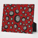 Red dartboard pattern display plaque