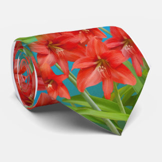 Red Day Lilies Tie