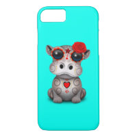 Red Day of the Dead Baby Hippo iPhone 8/7 Case