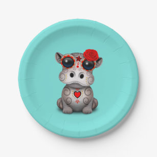 Red Day of the Dead Baby Hippo Paper Plate  sc 1 st  Zazzle & Hippo Plates   Zazzle