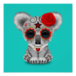 Red Day of the Dead Baby Koala Poster