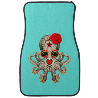 Red Day of the Dead Baby Octopus Car Floor Mat