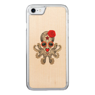 Red Day of the Dead Baby Octopus Carved iPhone 7 Case