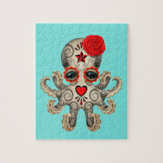 Red Day of the Dead Baby Octopus Jigsaw Puzzle
