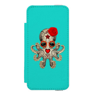 Red Day of the Dead Baby Octopus Wallet Case For iPhone SE/5/5s