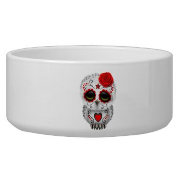Halloween Themed Red Day of the Dead Baby Owl Bowl