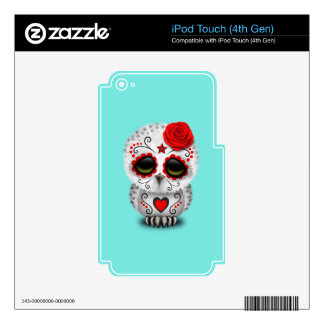 Red Day of the Dead Baby Owl Decals For iPod Touch 4G