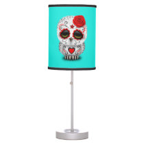 Red Day of the Dead Baby Owl Desk Lamp