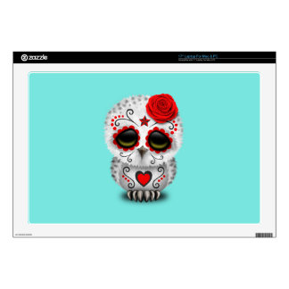 Red Day of the Dead Baby Owl Laptop Decals