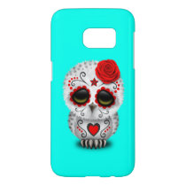 Red Day of the Dead Baby Owl Samsung Galaxy S7 Case