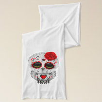 Red Day of the Dead Baby Owl Scarf