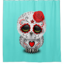 Red Day of the Dead Baby Owl Shower Curtain