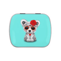 Red Day of the Dead Baby Polar Bear Candy Tin