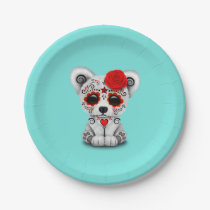 Red Day of the Dead Baby Polar Bear Paper Plate