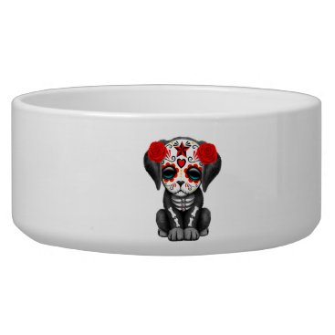 Halloween Themed Red Day of the Dead Baby Puppy Dog Bowl