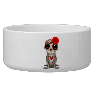 Halloween Themed Red Day of the Dead Baby Sea Lion Bowl