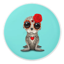 Red Day of the Dead Baby Sea Lion Ceramic Knob
