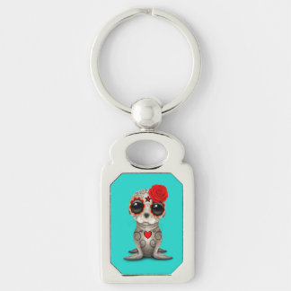 Red Day of the Dead Baby Sea Lion Keychain