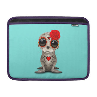 Red Day of the Dead Baby Sea Lion MacBook Sleeve