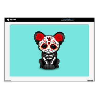 Red Day of the Dead Black Panther Cub Laptop Skin