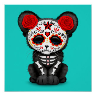 Red Day of the Dead Black Panther Cub Poster