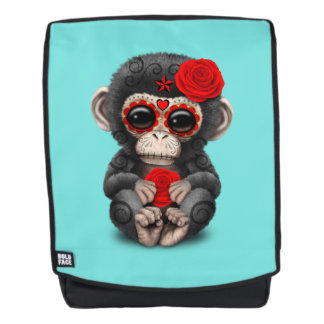 Red Day of the Dead Chimp Backpack