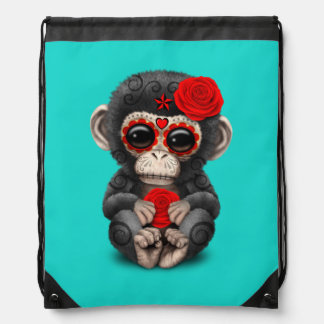 Red Day of the Dead Chimp Drawstring Bag