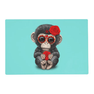 Red Day of the Dead Chimp Placemat