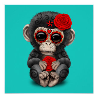Red Day of the Dead Chimp Poster