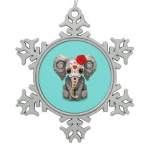 Red Day of the Dead Elephant Snowflake Pewter Christmas Ornament
