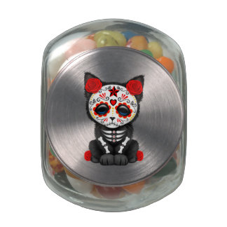 Red Day of the Dead Kitten Glass Candy Jars