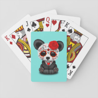Red Day of the Dead Panda Playing Cards