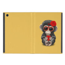 Red Day of the Dead Sugar Skull Baby Chimp Cover For iPad Mini