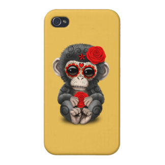 Red Day of the Dead Sugar Skull Baby Chimp iPhone 4 Cases