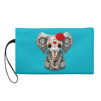 Red Day of the Dead Sugar Skull Baby Elephant Wristlet