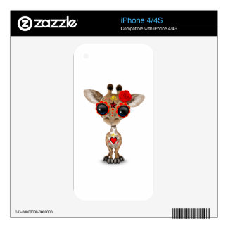 Red Day of the Dead Sugar Skull Baby Giraffe Skin For iPhone 4