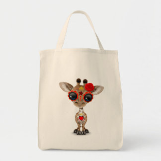 Red Day of the Dead Sugar Skull Baby Giraffe Tote Bag