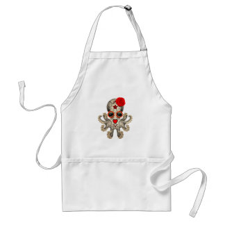 Red Day of the Dead Sugar Skull Baby Octopus Adult Apron