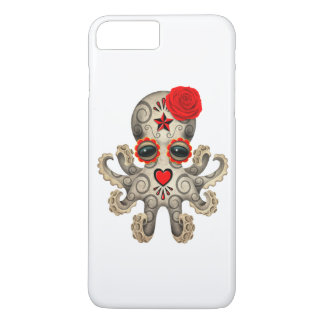Red Day of the Dead Sugar Skull Baby Octopus iPhone 7 Plus Case