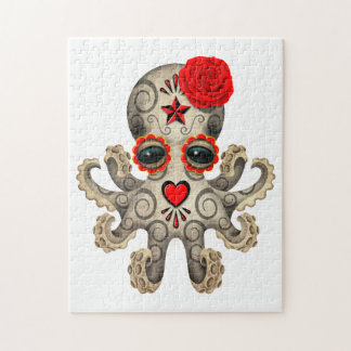 Red Day of the Dead Sugar Skull Baby Octopus Jigsaw Puzzle