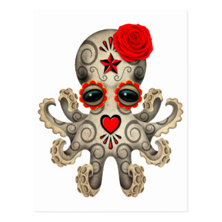 Red Day of the Dead Sugar Skull Baby Octopus Postcard