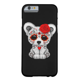 Red Day of the Dead Sugar Skull Bear Black Barely There iPhone 6 Case