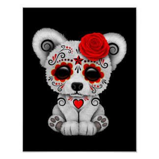 Red Day of the Dead Sugar Skull Bear Black Posters