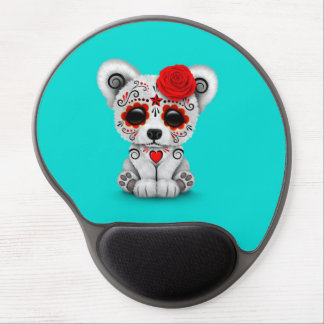 Red Day of the Dead Sugar Skull Bear Blue Gel Mouse Pad