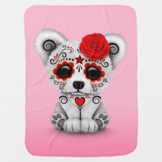 Red Day of the Dead Sugar Skull Bear Pink Baby Blankets