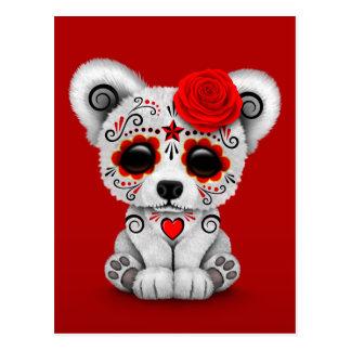 Red Day of the Dead Sugar Skull Bear Postcard