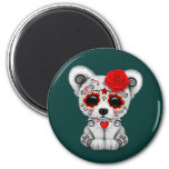 Red Day of the Dead Sugar Skull Bear Teal Blue 2 Inch Round Magnet