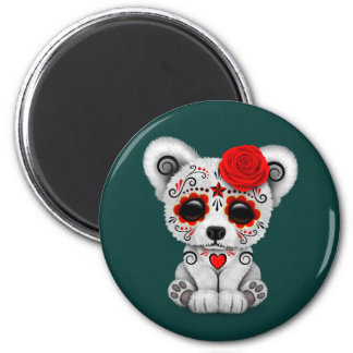 Red Day of the Dead Sugar Skull Bear Teal Blue Magnet