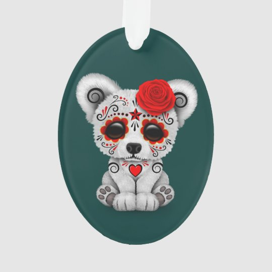 Red Day of the Dead Sugar Skull Bear Teal Blue Ornament