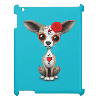 Red Day of the Dead Sugar Skull Chihuahua Puppy Case For The iPad 2 3 4